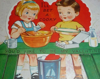 Vintage 1940s Girl and Boy Making Cookies Amer-i-card Valentine