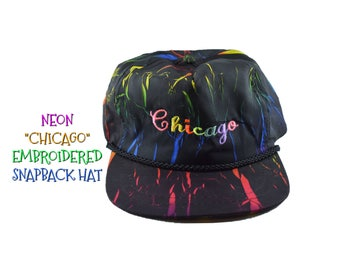 80s NEON CHICAGO Snapback Hat 1980s Colorful Multicolored Cap Mens Womens Illinois Midwest Bright Black Pink Green Blue Yellow Nylon
