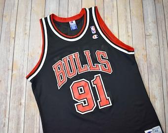 4d2175db1 ... 90s DENNIS RODMAN Chicago Bulls Champion Jersey Size 48 XL Extra Large  Mens Womens ...