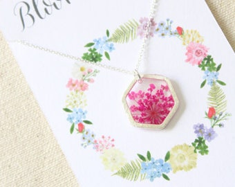 Pink Queen Anne's Lace Silver Hexagon Pressed Flower Necklace