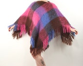 1950s Scottish Mohair Poncho Glen Cree, Vintage Mohair Sweater Shawl Purple and Pink, Angora Shawl with Fringe, Oversized Wool Cape