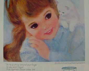Northern Tissue Girl & White Kitten Frances Hook 1962 Print Ad bathroom art