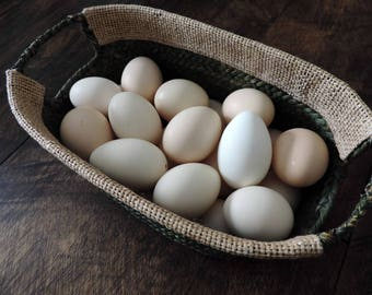 Hand Blown Free Range Chicken Eggs {Bantam} Spring Easter Eggs, Primitive Rustic Farmhouse Decor, Pysanki Crafting, Bowl & Basket Filler