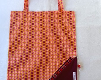 Tote Bag / eco-friendly tote bag / foldable bag pouch - orange and purple
