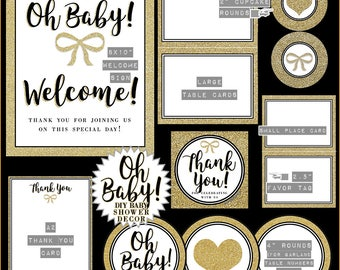Oh Baby! Gold Glitter Baby Shower // Instant Download Shower Kit