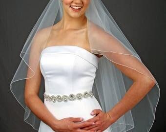 Fingertip Wedding Veil, Blusher Veil Veil, Veil, Ivory Fingertip Veil, Cathedral Veil - 10 Sizes & 11 Colors - Fast Shipping!