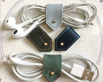 Leather Cord Holder | Cable Organizer | Cord Organiser | Earbud Organizer | Cable Tidy | Cord Keeper in Greens and Blues Sets of 2 or 4