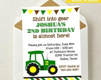 Tractor Birthday Invitation // Tractor Invitation // John Deere Invitation // Farmer Invitation // Tractor Invite // Get in Gear Invitation