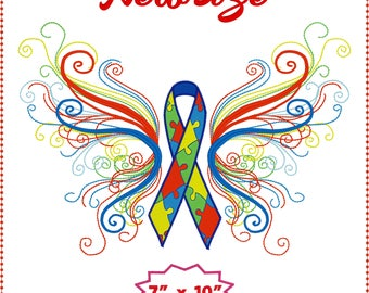 Butterfly autism ribbon embroidery design, puzzle pieces, abstract wings, large design