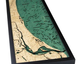 Myrtle Beach Wood Carved Topographic Depth Map