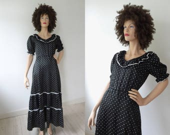 Black Vintage Maxi Dress With White Dots // Size 40