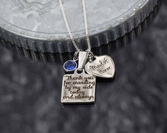 Maid of honor gift, wedding bridal party jewelry, matron of honor necklace with charms, bridesmaid thank you gift