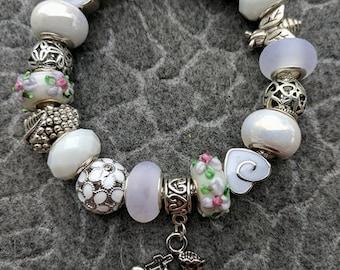 White Lion European Charm Bracelet