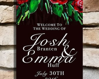 Red Roses Wedding Welcome Sign