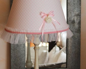 Romantic lamp shade - pastel pink gingham - heart and frourfrou - Shabby chic style