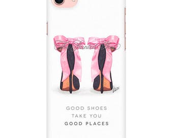 Fashion Phone case, iPhone 7, iphone 6 plus, iphone 6, iphone 7, gift, fashion art, fashion illustration, pink, shoes, art- Pretty in pink