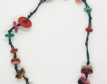 "17"" reds and greens button necklace"