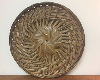 """19"""" Large Round Woven Rattan Basket Tray / Wall Hanging Decor, Made in the Philippines"""