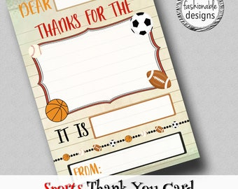 """Sports Thank You Card, Kids Card, Birthday Thank You, Instant Download, 4x6"""" JPG,"""
