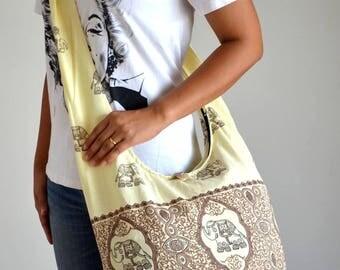 Beige Vintage Cotton Sling Bag Hippie Bag Messenger Bag Gypsy Bag Crossbody Bag Yoga Bag Beach Bag Weekend Bag Overnight Bag Travel Bag