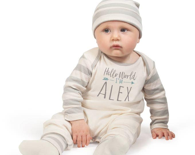 Personalized Newborn Boy Coming Home Outfit, Newborn Boy Outfit, Baby Boy Romper, Baby Boy Outfit, Baby Hello World, Welcome Baby, TesaBabe