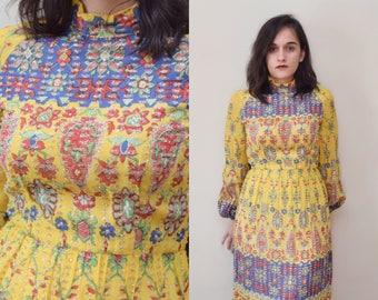 60s 70s Tinsel Turtleneck Poet Sleeve Party Dress // S M