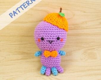 Monster Amigurumi Pattern - Crochet Monster Pattern - Amigurumi Monster Crochet Pattern - Monster Plush Pattern - Monster with Orange Hat