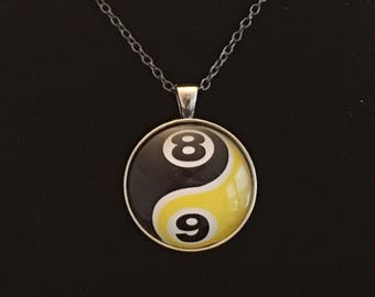 """Necklace -  8/9 Yin Yang Image under glass dome. (16""""-24"""")"""