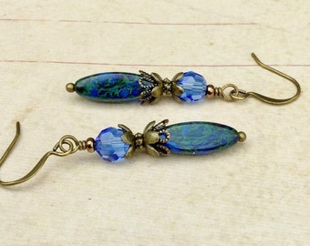 Blue Earrings, Sapphire Earrings, Picasso Earrings, Czech Glass Beads, Crystal Earrings, Victorian Earrings, Antique Gold Earrings, Gifts