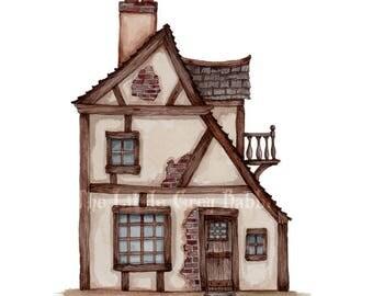 Watercolor Print, Fairy Tale Art, Childrens Room Decor, Pen And Watercolor, Tudor House, Nursery Print, Fairy Tale Cottage, Architecture Art