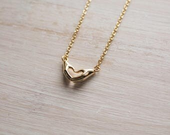 Costume jewelry etsy love hand necklacehand symbol necklacegold costume jewelleryheart hand necklace mozeypictures Images