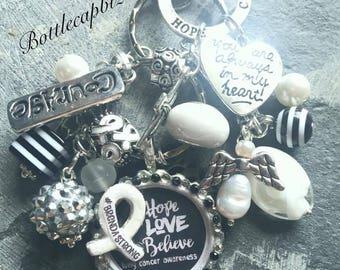 Lung Cancer Awareness/HopeLoveBelieve/I Wear Pearl/ Black/White/#kathystrong(please specify) Handmade KeyChain/PurseCharm