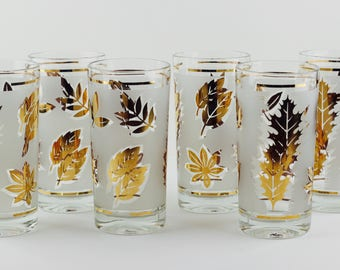 Libbey Golden Foliage Highball Tumblers Mid Century Barware Set of 6