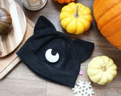 Cute witchy moon cat fleece cosplay hat inspired by Sailormoon Luna and Artemis