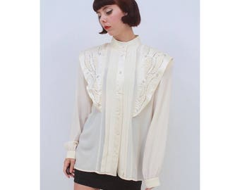 Vintage - 80's - Retro - STEAMPUNK - Cream - SILK - Beaded - Long Sleeve - Blouse - Top - Shirt - AUS 10 - S - Small