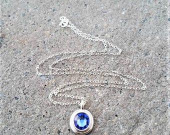 Swarovski Crystal Necklace, Blue Swarovski Crystal Pendant Necklace, Swarovski Sapphire  Crystal Necklace, Round Crystal Necklace