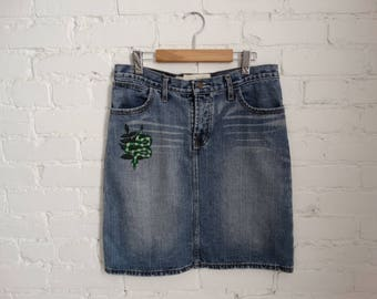 Slytherin Vintage denim skirt, Hand Embroidered, Size Medium to Large