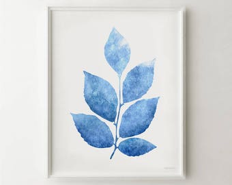 Blue leaves print, Blue and white print, Blue wall decor Living room art, Blue wall art Nature decor, Plant art, Blue wall PRINTABLE artwork