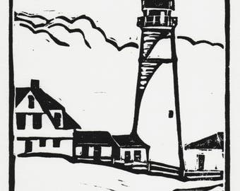 "Portland Head Lighthouse, Linocut, 6 x 8"",Hand printed,Signed"