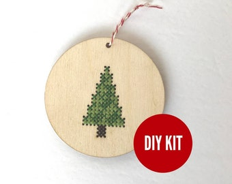Christmas tree ornament - easy DIY cross stitch kit - laser cut wood cross stitch project for beginners - by Canadian Stitchery