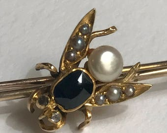 A Sapphire and Pearl Victorian Fly Brooch