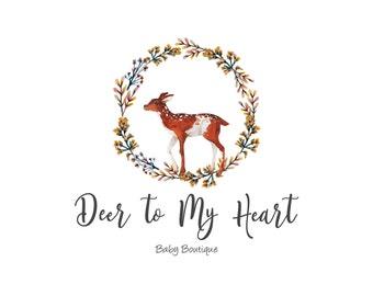 Deer Logo-Fawn Logo-Animal Logo-Nature Logo-Wreath Logo-Watercolor Logo-Business Logo-Etsy logo-Premade logo-Free Font Change