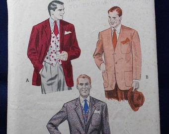 1950's Sewing Pattern for a Man's Jacket & Waistcoat - Butterick 6595