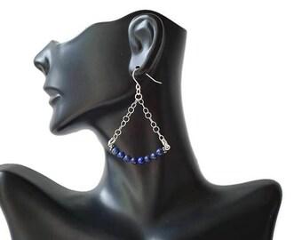 Blue Gemstone Chandelier Earrings, Sterling Silver Earrings, Lapis Lazuli Earrings, Romantic Earrings