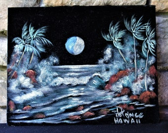 Vintage Original Acrylic on Velvet Painting JOHN  DE PONCE Hawaii Seascape