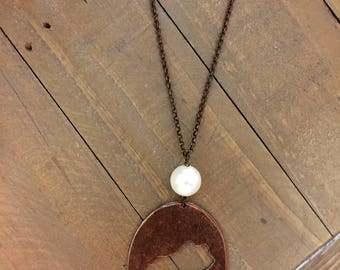 Burnished Kentucky Cutout Necklace- bronze/silver