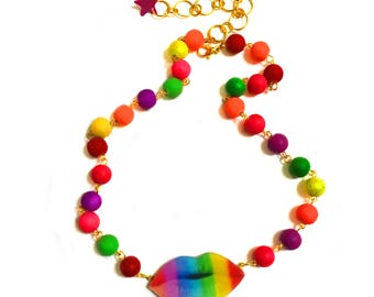 Kiss On The Lips Necklace, Beaded collar, choker necklace, Gold, Pop art, Equality rainbow jewelry, lgbt, gay pride, love wins, LGBT Flag