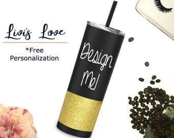 Create your own custom glitter dipped tumbler 20 oz Stainless Steel Travel Tumbler Glitter Dipped Straw Cup Skinny To-Go cup