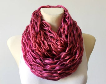 Pink Knit Scarf Chunky Knit Scarf Knit Infinity Scarf Winter Knit Scarf Unique Scarves Gift for Her Gift Womens Christmas Celebrations