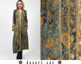 vintage 70s caftan vintage 1970s caftan vintage 70s boho bohemian ethnic printed caftan hippie gypsy hooded caftan vintage indian caftan